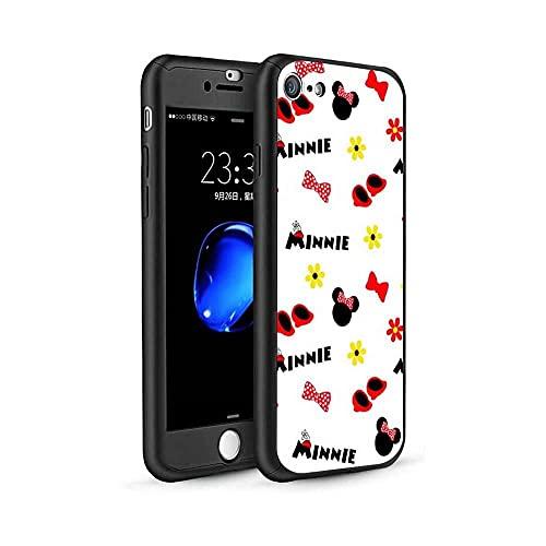 qiaohuan shop Funda para iPhone 6 Plus/6S Plus, diseño de Mickey Minnie 360, funda delgada con protector de pantalla de vidrio templado y soporte para anillo para iPhone 6 Plus/6s Plus #05