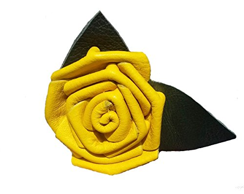 Leather Rose Flower Yellow - All Leather - Wire stem - Made in USA