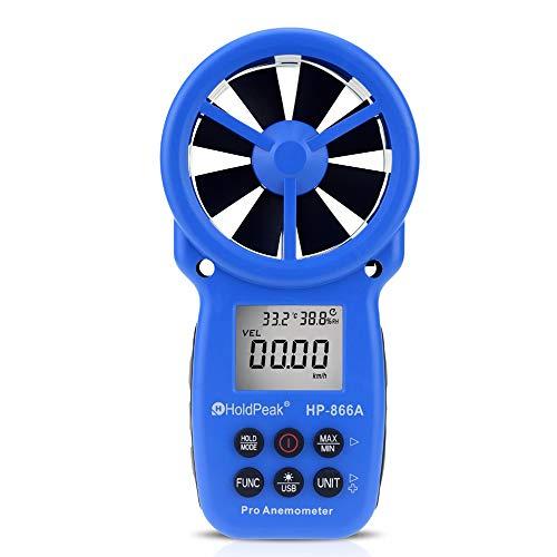 AOEIUV Anemometro Digitale 866A - Misuratore della velocità del Vento Misura la velocità del Vento, la Temperatura, Il Flusso del Vento con Data Hold e USB