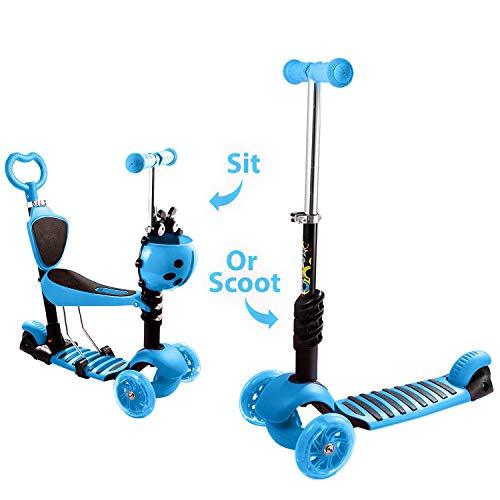 Verstelbare Peuterstep Met Zitje, Blauwe 5-in-1 Kick- En Balansstep Met Ouderhandgreep tbv. Drie knipperende wielen,Blue