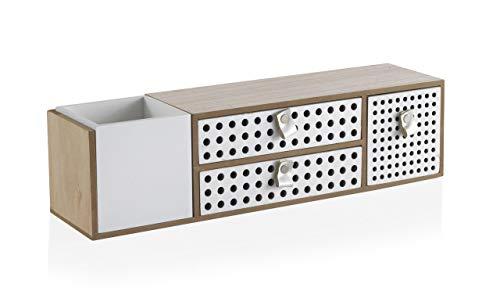 GEESE - Cajita Multiusos con un cubilete y 3 cajoncitos en Color Blanco - Medidas Ancho 43 cm, Largo 11 cm y Alto 11 cm