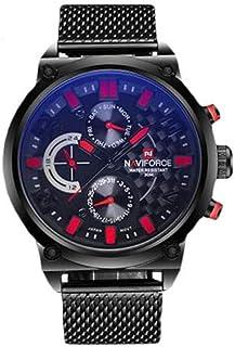 ساعة نافيفورس كلاسيك للرجال بمينا اسود وبسوار معدني - NF9068-BBR