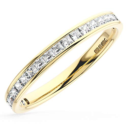 0.50carat Princess Cut Diamonds Half Eternity Wedding Ring in 9K Yellow Gold (J)