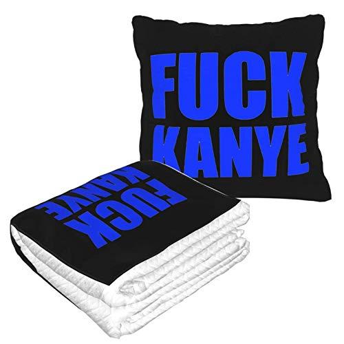 AEMAPE Fuck Kanye Car Pillow Blanket Sofa Blanket, Travel Pillow Blanket, Warm and Thick, Airplane Plush Neck Pillow Thrown for Sleep-0A