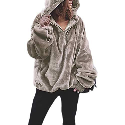 RYDRQF - Abrigos anchos para mujer, sudaderas con capucha para mujer, suéteres de invierno para niña, otoño, espesar más tupido, 1/4 cremallera caliente, diseño suelto, uso diario tyj-472 Hellbraun XXL