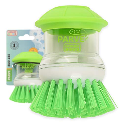Parve Green Sud-Zee Scrub Brush with Liquid Dish Soap Dispenser –Scouring Sponge Bristles with Ergonomic Handle - Color Coded Kitchen Tools by The Kosher Cook
