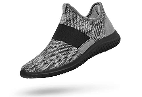 Troadlop Women Shoes Slip On Laceless Running Sneakers for Women Light Breathable Athletic Shoes Air Knitted Non Slip Tennis Shoes Size 6.5 M US Grey