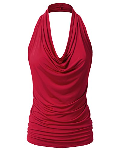 EIMIN Women's Casual Halter Neck Draped Front Sexy Backless Tank Top RED 3XL