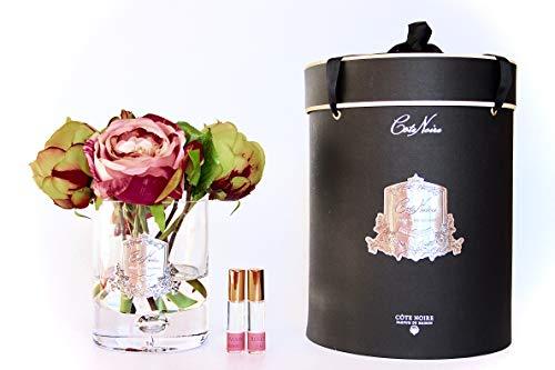 Côte Noire Gamme de luxe parfumée 5 pivoines avec bourgeons Bouquet de fleurs dans un vase en verre transparent - Bouquet Jardin à la française