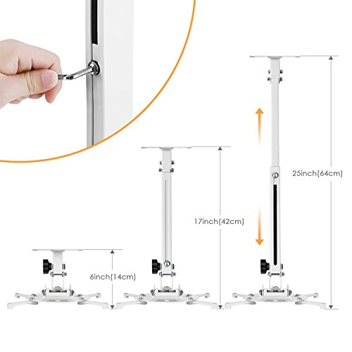 "Projector Ceiling Mount SIMBR Universal Bracket Holder, 6"" Extension Pole, 15kg/33lb Load Capacity"