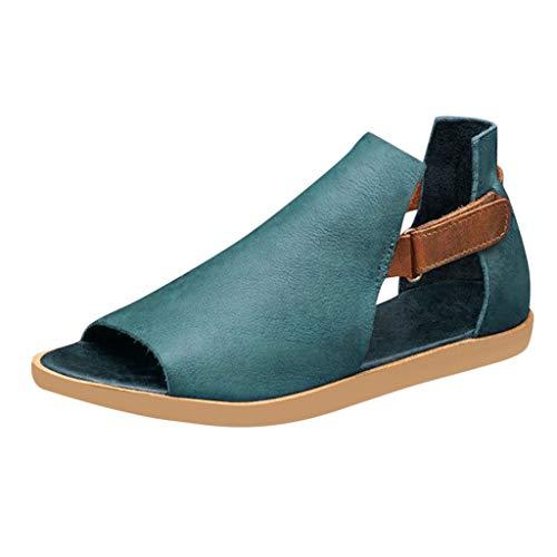Beonzale Sommer Damen Damen Mädchen Retro Vintage Flat Peep Toe Sandalen Freizeitschuhe