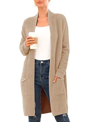QIXING Women's Casual Open Front Knit Cardigans Long Sleeve Plush Sweater Coat with Pockets Khaki-Medium