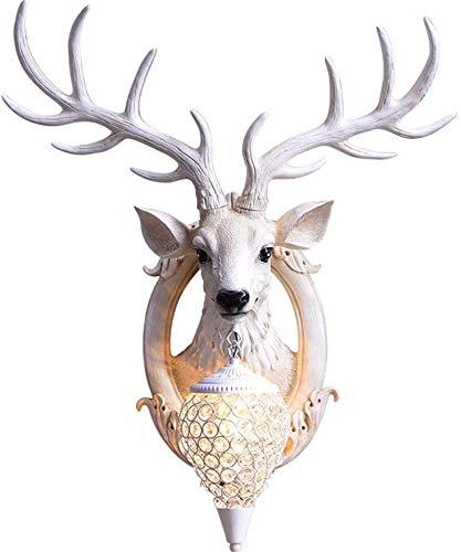 Lámparas de pared industriales, Luz de pared interior Nordic Vintage Creativo Color blanco Ciervos a mano Tallado Lámpara de pared de resina natural con hierro forjado Caja de cristal para la sala de