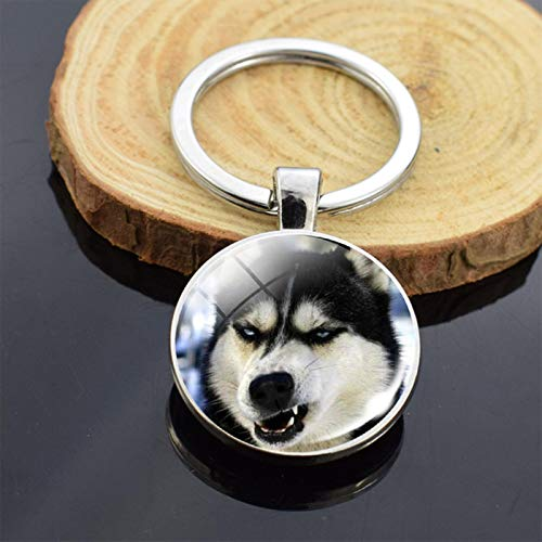 Jiechu Cute Puppy Dog Photo Keychain Handmade Key Chain for Women Gifts Cool Husky Keychains Keyrings Girls Party Vacation Gifts Rings