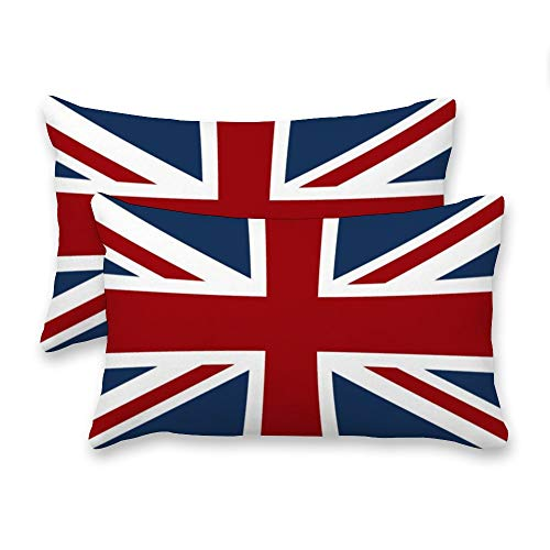 Yilooom Decorative Lumbar Pillow Covers Cases Set, Pack Of 2 Canvas Union Jack Flag Red White And Blue Rectangular Accent Throw Pillow Covers Cushion Cover For Couch Bed Sofa Living Room,20x30 Inch