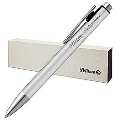 Pelikan Kugelschreiber SNAP silber matt mit Laser-Gravur Aluminium mit Druck-Clip-Mechanik