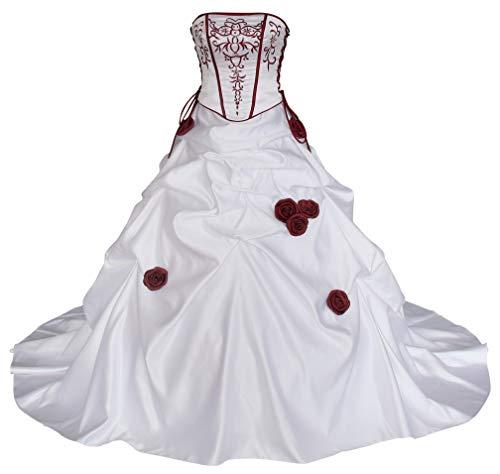 Romantic-Fashion Brautkleid Hochzeitskleid Zweifarbig Weiß/Bordeauxrot A-Linie Satin Trägerlos Modell PL0500 Größe 38