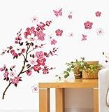 Nonebranded vinilos de Pared Decorativos Peach Blossom Sticker Fashion TV Set Scenery Wall Living Room Dormitorio Ventana Wall Sticker