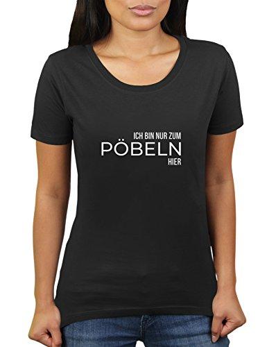 Ich Bin nur zum Pöbeln Hier - Damen T-Shirt von KaterLikoli, Gr. 3XL, Deep Black