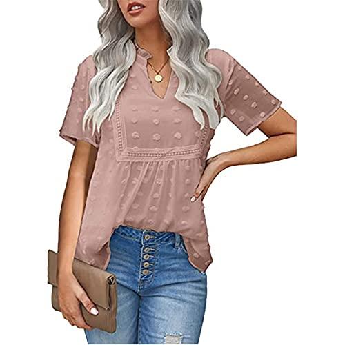 Manga Corta Mujer T-Shirts Dulce Moda Verano Cuello V Color Sólido Mujer Tops Elegante Chic Pequeña Flor De Terciopelo Diseño Diario Casual All-Match Mujer Camisa De Gasa B-Pink M