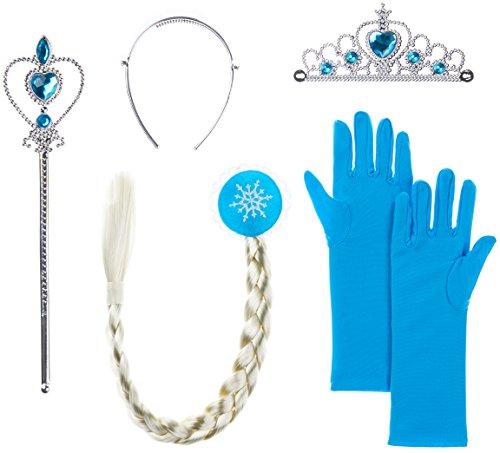 Balinco Eisprinzessin / Prinzessin Set bestehend aus Diadem + Handschuhe + Zauberstab BZW. Zepter + Zopf für Kinder ab 2 bis 9 Jahren