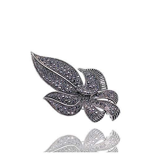 Nonebranded Broche Broche De Ancla De Diamantes De Imitación Completo Unisex Alfileres De Joyería Antigua Planta De Encanto De Traje De Tono Negro