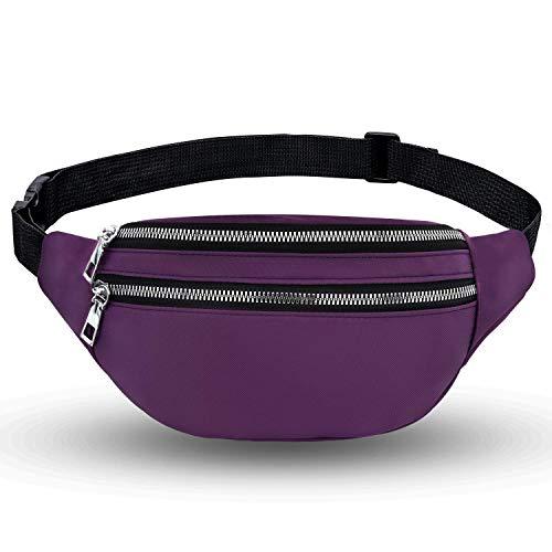 LIVACASA Riñoneras Mujeres Moda Deportiva Bolso Cintura Mujer Riñoneras de Marcha con Cremallera 2 Bolillos Exterior Running al Aire Libre Viaje Púrpura