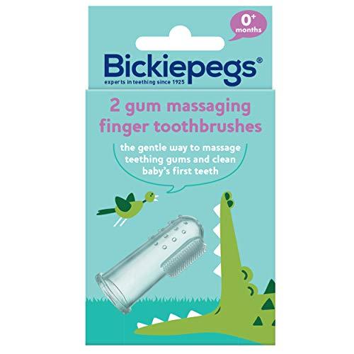 Bickiepegs Silikon-Finger-Zahnbürste und Zahnfleisch-Massagegerät, im Doppelpack.