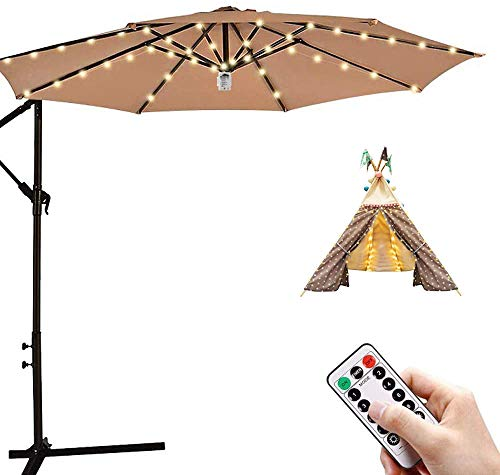 Patio Umbrella LED String Lights Waterproof, 8 Branches 104 LEDs Warm White Parasol Lights with Remote Control and Timer for Outdoor & Indoor use