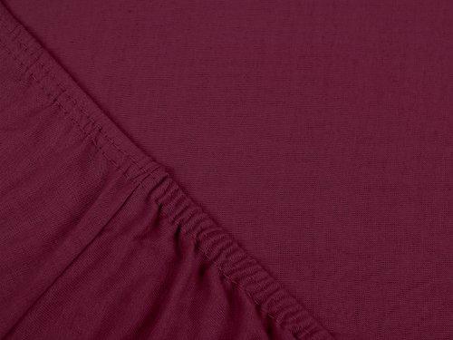 npluseins klassisches Jersey Spannbetttuch – erhältlich in 34 modernen Farben und 6 verschiedenen Größen – 100% Baumwolle, 70 x 140 cm, pflaume - 4
