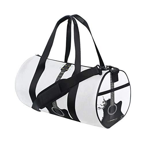 HARXISE Sporttasche Reisetasche,Gitarre Monochrom Musikinstrument Saiten Akustische Farbe Spritzer Creative Outlet Schwarz Weiß,Schultergurt Handgepäck für Übernachtung Reisen
