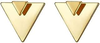 Open Triangle Geometric Earring, 14K Gold Plated Unique Piercing Stud Earring Ear Jacket Dangle Earrings for Women