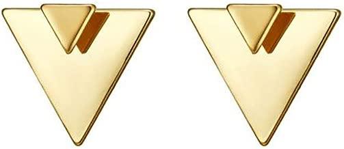 Open Triangle Geometric Earring, 14K Gold Plated Unique Piercing Stud Earring Ear Jacket Dangle Earrings for Women…