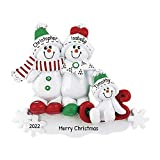 Personalized Snowman Sled Family of 3 Christmas Tree Ornament 2019 - Cute Child Green Winter Hat Red Bow Hug Snowflake Gift Kid Holiday Activity Tradition Gift Year - Free Customization (Three)