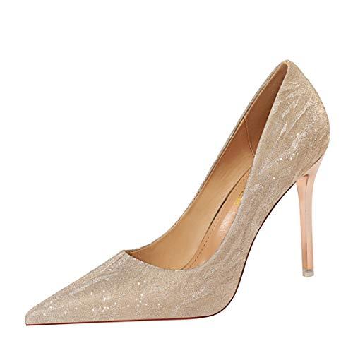 Zapatos de vestir de señora Slip-On Lentejuelas Moda Tacón de aguja Patrón Banquete Danza Punta estrecha Fiesta de boda Zapatos de vestir de verano
