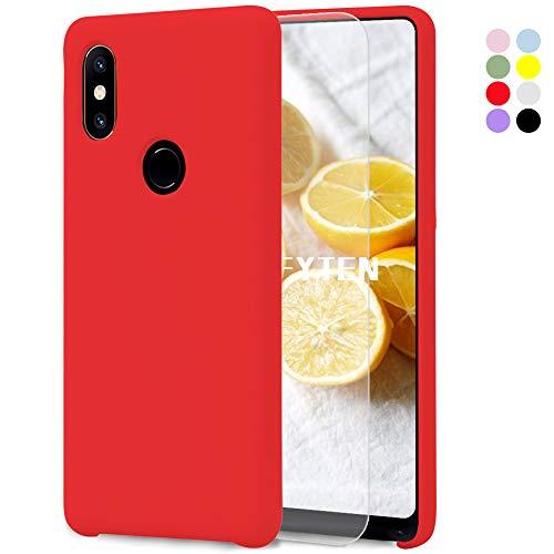 Feyten Funda para Xiaomi Mi Mix 2S [Cristal Vidrio Templado],Slim Líquido de Silicona Gel Carcasa Anti-Rasguño Protectora Caso (Rojo)
