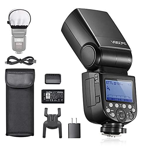 Godox V860IIIC Flash para cámara Canon EOS, TTL 76Ws 2.4G, Batería de Iones de Litio de 7,2V/2600mAh, 0.01-1.5s Tiempo de Reciclaje, Lámpara de Modelado LED de 10 Niveles