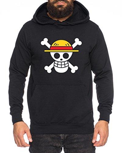 Logo Pirat Herren Hoodie Ruffy Zoro One Nami Lysop Piece Portgas D, Farbe:Schwarz;Größe:L