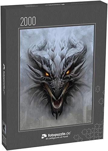 Puzzle 2000 Teile Drachenkopf auf dem grauen Steinhintergrund. Digitale Malerei - Klassische Puzzle, 1000 / 200 / 2000 Teile, edle Motiv-Schachtel, Fotopuzzle-Kollektion 'Fabel_Fantasy'