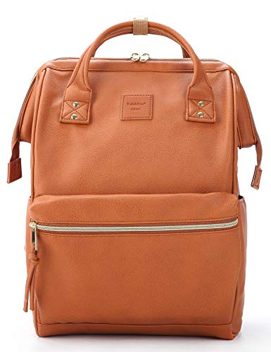 Kah&Kee Leather Backpack Diaper Bag with Laptop Compartment Travel School for Women Man (Camel,...