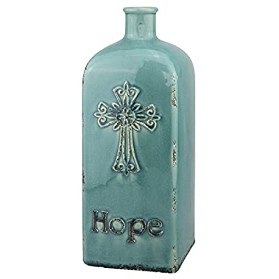 """Stonebriar Decorative 12"""" Worn Turquoise Ceramic Bottle with Cross Detail, French Country Home Decor Accents, Vintage Vase Decoration for Dried or Artificial Flowers"""