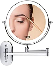 Wall Mounted Makeup Mirror Lighted, 8 Inch Double Sided Cosmetic Mirror with Lights, 1X 10X Magnifying Bathroom Mirror for Shaving, Dimmable LED Lights, Extendable Arm, Touch Control, Chrome Finish…