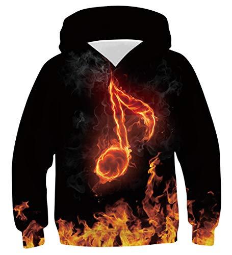 Funnycokid Teens Pullover Hoodie Coole 3D Lustige Feuer Grafik Jungen Mädchen Kapuzenpullover Lässiger Langarmpullover mit Taschen Alter 145-155