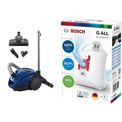 Bosch Elettrodomestici BGL2UA112 Aspirapolvere a Carrello con Sacco, 600 W + Sacchetti PowerProtect per Aspirapolvere 5L