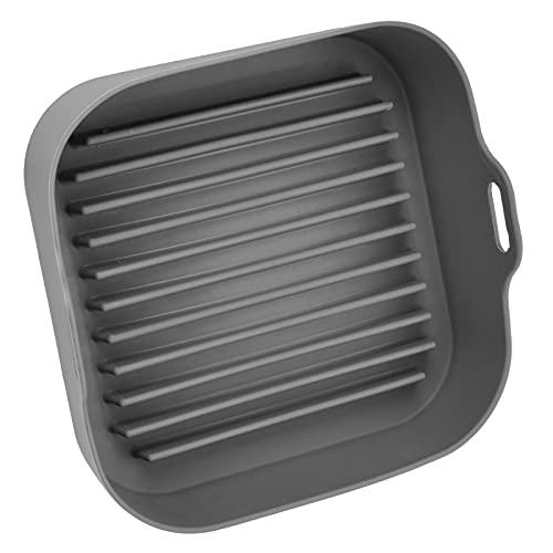 Pentola per friggitrice, sostituzione della pentola per friggitrice ecologica in silicone resistente al calore per vaporiera per friggitrice per cuociriso per forno a microonde(Opp quadrato grigio)