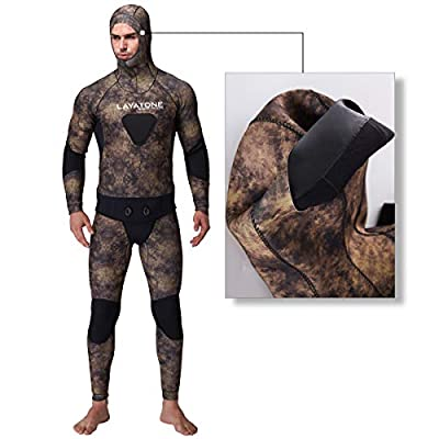 Layatone Wetsuit Men Premium 5mm Super Stretch Neoprene Spearfishing Suit Scuba Diving Suit Two Piece Fullsuit Freediving Jumpsuit Fishing Snorkeling Wet Suits Men