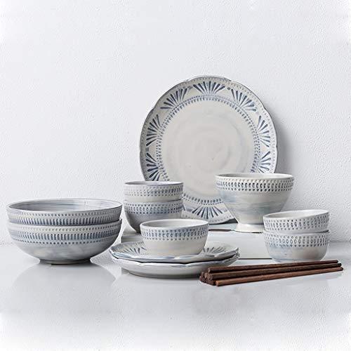 Ensemble de vaisselle en céramique créative pour 16 , assiettes et bols ménagers, cadeau pour les anniversaires et Noël
