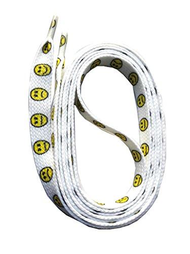 SNORS bedruckte Schnürsenkel SMILEY 140cm, 10mm, Schuhbänder mit Motiv, reißfest, waschbar, Flachsenkel Made in Germany