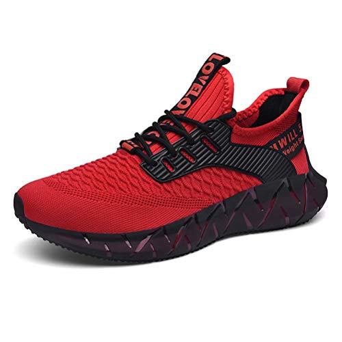 FUSHITON Homme Chaussures de Mode Sport Baskets Décontractées Jogging Fitness Course Marche Respirante Sneakers Léger Confortable,Rouge,43 EU