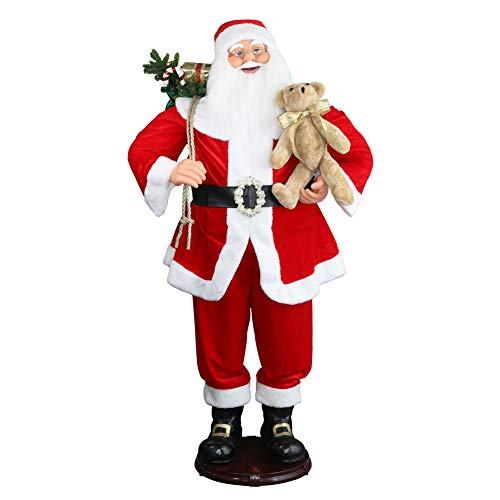 """59"""" Inch Christmas Life Size Animated Rock Singing and Dancing Santa Claus Collapsible Decoration Collection Musical Sensor Reaction Figure Traditonal Red Standing Indoor Gift Bag Bear"""
